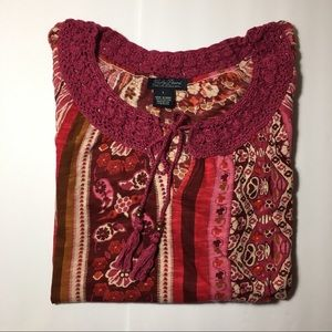 Lucky Brand Magenta Floral Flowy 3/4 Sleeve Top